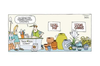 I'm going for former flower children. Tree's Tree Nursery. Legal pot. Legal grass. Festuca. Carex… by Signe Wilkinson