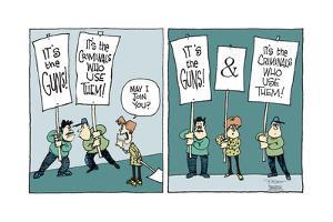 It's the guns!  and  It's the criminals who use them! by Signe Wilkinson