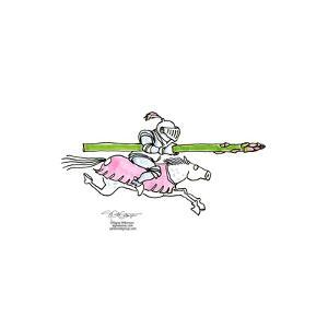 Knight rides a horse carrying an asparagus as his lance. by Signe Wilkinson