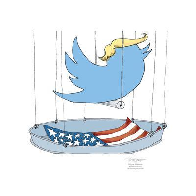 The twitter logo wearing a Trump hairpiece is in a birdcage lined with the American flag.
