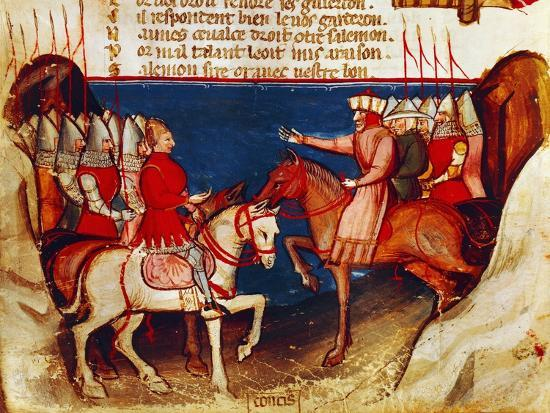 Signing of a Truce, Miniature from the Entree D'Espagne Manuscript--Giclee Print
