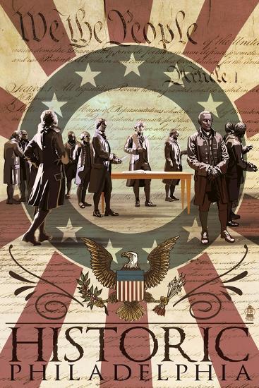 Signing of the Constitution - Philadelphia, Pennsylvania-Lantern Press-Art Print