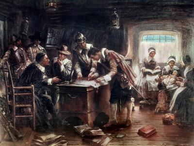 Signing of the Mayflower Compact-Edward Moran-Giclee Print