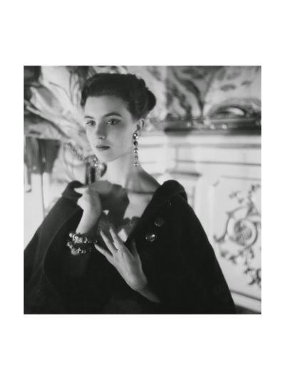 Signorina Illaria Occhini, Actress, Hands on Chest, Wearing Long Earrings and a Dark Cape-Henry Clarke-Premium Giclee Print