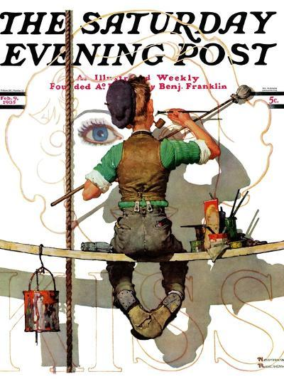 """""""Signpainter"""" Saturday Evening Post Cover, February 9,1935-Norman Rockwell-Giclee Print"""