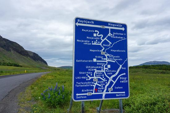 Signpost, Iceland, Golden Circle, Confusing-Catharina Lux-Photographic Print