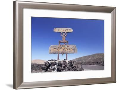 Signpost in the National Park Timanfaya, Lanzarote, Canary Islands, Spain-Markus Lange-Framed Photographic Print