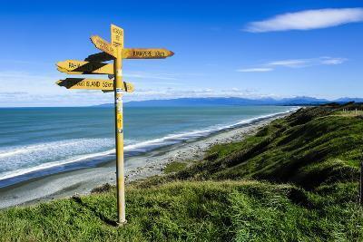 Signpost on Te Waewae Bay, Along the Road from Invercargill to Te Anau, South Island-Michael Runkel-Photographic Print