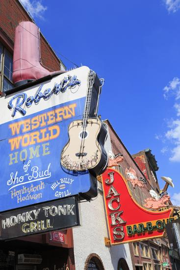 Signs on Broadway Street, Nashville, Tennessee, United States of America, North America-Richard Cummins-Photographic Print