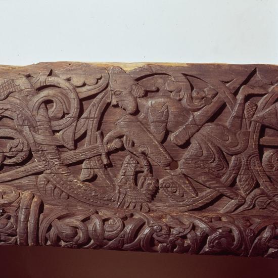 Sigurd kills the Dragon, Fafnir. Detail of wood panel of Hylestad Church, Norway-Unknown-Giclee Print