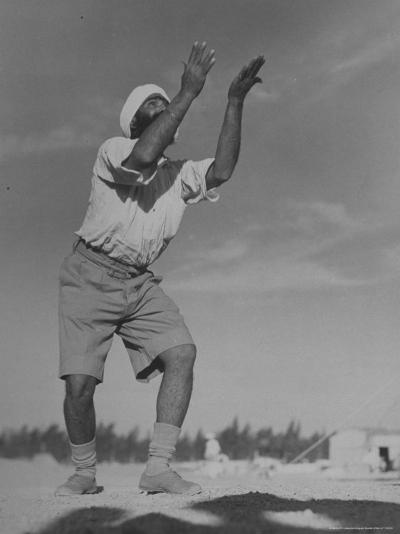 Sikh Soldiers Playing Volleyball at Indian Army Camp in the Desert Near the Great Pyramids-Margaret Bourke-White-Photographic Print