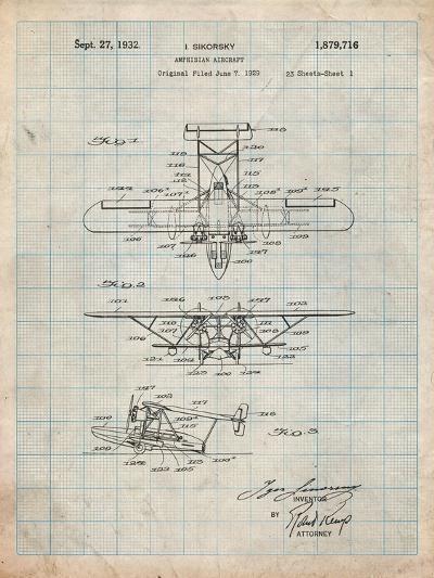 Sikorsky Amphibian Aircraft 1929 Patent-Cole Borders-Art Print