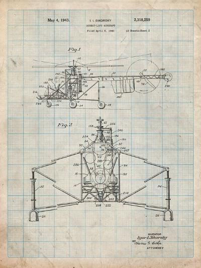 Sikorsky Helicopter Patent-Cole Borders-Art Print