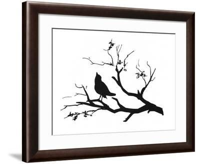 Silhouette: Bird on Branch--Framed Giclee Print