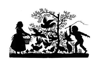 Silhouette - Children and Birds--Giclee Print