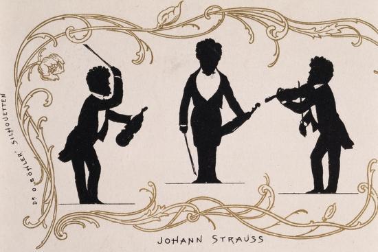 Silhouette in Black, Caricature of Johann Strauss--Giclee Print