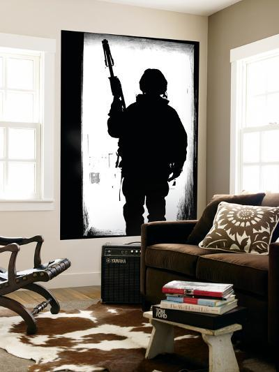 Silhouette of a British Soldier in a Doorway at Camp Condor, Iraq-Stocktrek Images-Wall Mural