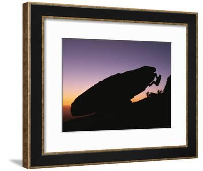 Silhouette of a Climber Bouldering on Mount Etna-Peter Carsten-Framed Photographic Print