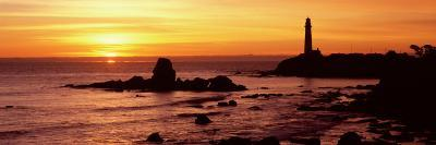 Silhouette of a Lighthouse at Sunset, Pigeon Point Lighthouse, San Mateo County, California, USA--Photographic Print
