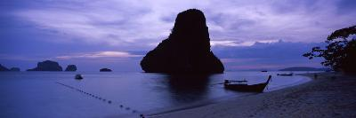 Silhouette of a Longtail Boat, Railay Beach, Krabi, Thailand--Photographic Print