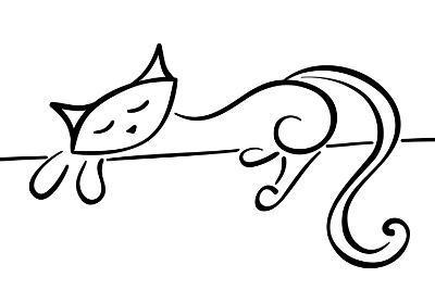 Silhouette Of A Lying Black Cat-Stellis-Art Print