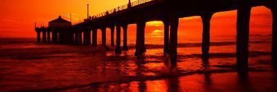 Silhouette of a Pier at Sunset, Manhattan Beach Pier, Manhattan Beach, Los Angeles County, CA--Photographic Print