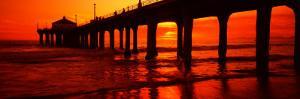 Silhouette of a Pier at Sunset, Manhattan Beach Pier, Manhattan Beach, Los Angeles County, CA