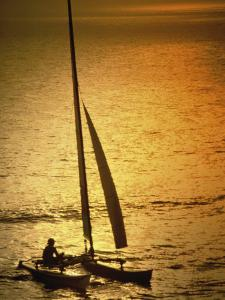 Silhouette of a Sailboat in the Sea