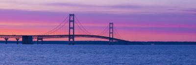 Silhouette of a Suspension Bridge at Sunset, Mackinac Bridge, Michigan, USA--Photographic Print