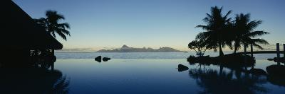 Silhouette of a Tourist Resort, Tahiti Beachcomber Resort, Papeete, Tahiti, French Polynesia--Photographic Print