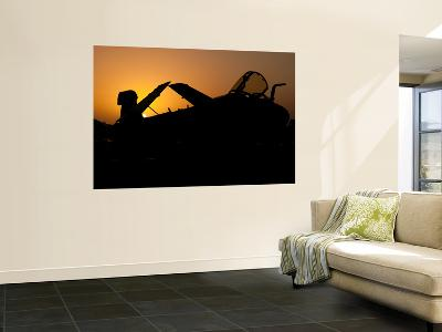 Silhouette of an Ea-6B Prowler at Sunrise on the Flight Deck of Uss Nimitz-Stocktrek Images-Wall Mural