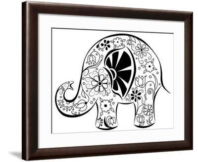 Silhouette Of An Elephant Painted By Flowers-nad_o-Framed Art Print