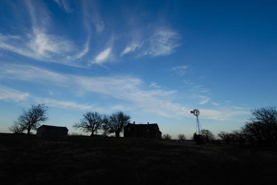 Silhouette of Barns and a Windmill Against Blue Sky-Michael Forsberg-Photographic Print