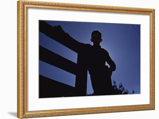 Silhouette of Boy Leaning Against Fence-William P^ Gottlieb-Framed Photographic Print