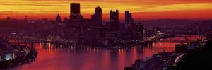 Silhouette of Buildings at Dawn, Three Rivers Stadium, Pittsburgh, Allegheny County