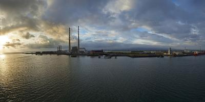 Silhouette of Chimneys of the Poolbeg Generating Station at Dawn, River Liffey, Dublin Bay--Photographic Print