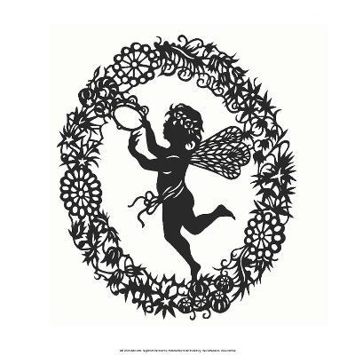 Silhouette of Fairy Angel in Flower Garland--Art Print