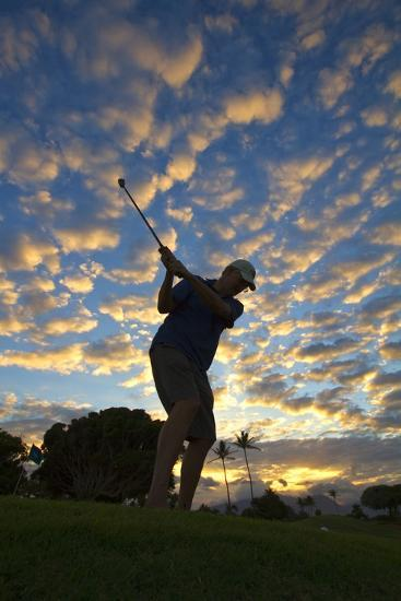 Silhouette of Golfer at Sunset, Maui, Hawaii-Ron Dahlquist-Photographic Print