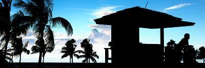 Silhouette of Life Guard Station at Sunset - Miami-Philippe Hugonnard-Photographic Print