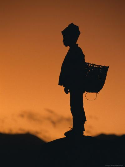Silhouette of Local Boy at Sunset, Everest Base Camp Trek, Nepal, Asia-Gavin Hellier-Photographic Print