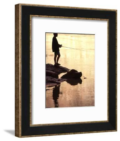 Silhouette of Man Fishing from the Edge of the River, Colorado-Kate Thompson-Framed Photographic Print