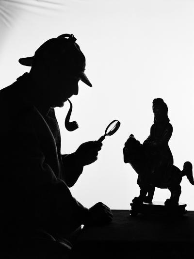 Silhouette of Man Wearing Deerstalker, Dressed As Sherlock Holmes-H^ Armstrong Roberts-Photographic Print
