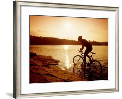 Silhouette of Mountain Biker at Sunset--Framed Photographic Print
