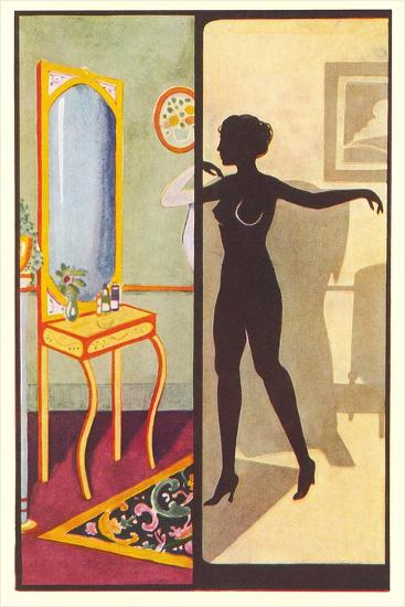 Silhouette of Nude Dressing--Art Print