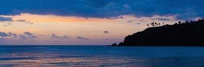 Silhouette of Palm Trees on a Cliff at Sunset, Nippah Beach, Lombok, Indonesia, Southeast Asia-Matthew Williams-Ellis-Photographic Print