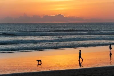 Silhouette of People and Dog Walking on the Beach, Seminyak, Kuta, Bali, Indonesia--Photographic Print
