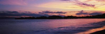 Silhouette of pier in pacific ocean, Santa Barbara, California, USA--Photographic Print