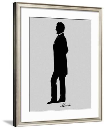 Silhouette of President Abraham Lincoln with Signature-Stocktrek Images-Framed Photographic Print