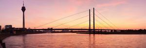 Silhouette of Rheinturm Tower and Rheinkniebrucke Bridge, Dusseldorf, North Rhine Westphalia