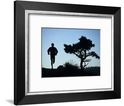 Silhouette of Runner and Tree--Framed Photographic Print